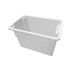 68L Plastic Crate Stack & Nest Container 645 X 413 X 397mm - White