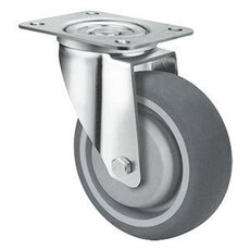 100mm TE21TPB_S GREY RUBBER CASTORS