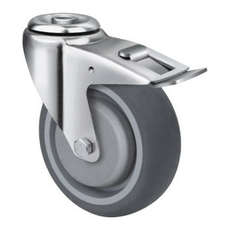 125mm TE21TPB_HB GREY RUBBER CASTORS