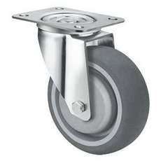 125mm TE21TPB_S GREY RUBBER CASTORS