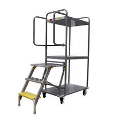 Stock & Order Picking Trolley with Foldable Platform Ladder