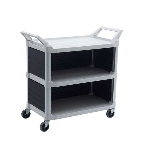 Hi-5 3 Shelf Utility Cart with 3 Panel, 103.2cm x 50.8cm x 96cm - 135kg rated - Off White