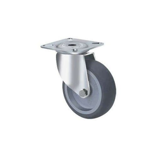 75kg Rated Grey Rubber Castor - 100mm - Swivel Plate