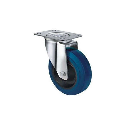 130kg Rated Blue Rubber Castor 80mm - Swivel Plate